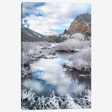 Boulder Mountains And Summit Creek Dusted With Snow, Idaho Canvas Print #TFI127} by Tim Fitzharris Canvas Wall Art