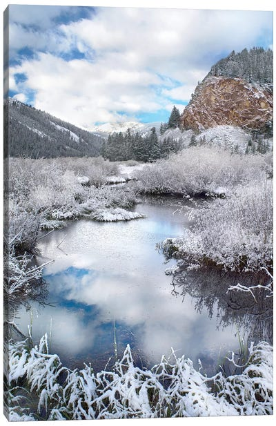 Boulder Mountains And Summit Creek Dusted With Snow, Idaho Canvas Art Print