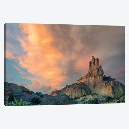 Cloudy Sky Over Church Rock, Red Rock State Park, New Mexico Canvas Print #TFI1287} by Tim Fitzharris Canvas Artwork