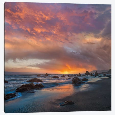 Coatal Sunset Near Arch Rock, California 3-Piece Canvas #TFI1290} by Tim Fitzharris Canvas Wall Art
