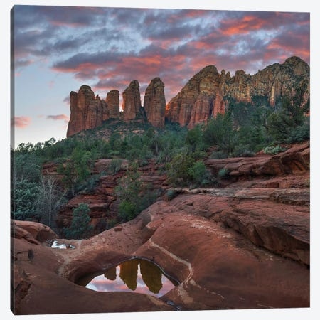 Coffee Pot Rock And The Seven Sacred Pools At Sunset Near Sedona, Arizona Canvas Print #TFI1291} by Tim Fitzharris Canvas Wall Art