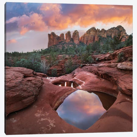 Coffee Pot Rock And The Seven Sacred Pools At Sunset, Near Sedona, Arizona Canvas Print #TFI1292} by Tim Fitzharris Canvas Art