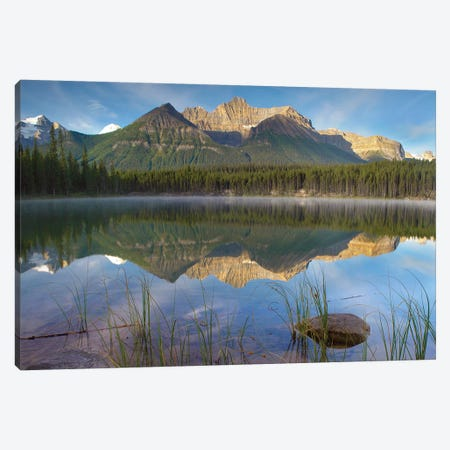 Bow Range And Boreal Forest Reflected In Herbert Lake, Banff National Park, Alberta, Canada Canvas Print #TFI130} by Tim Fitzharris Canvas Wall Art