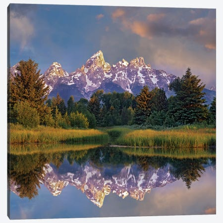Grand Tetons From Schwabacher Landing, Grand Teton National Park, Wyoming Canvas Print #TFI1324} by Tim Fitzharris Canvas Art Print