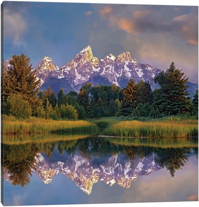 Grand Tetons From Schwabacher Landing, Grand Teton National Park, Wyoming Canvas Art Print
