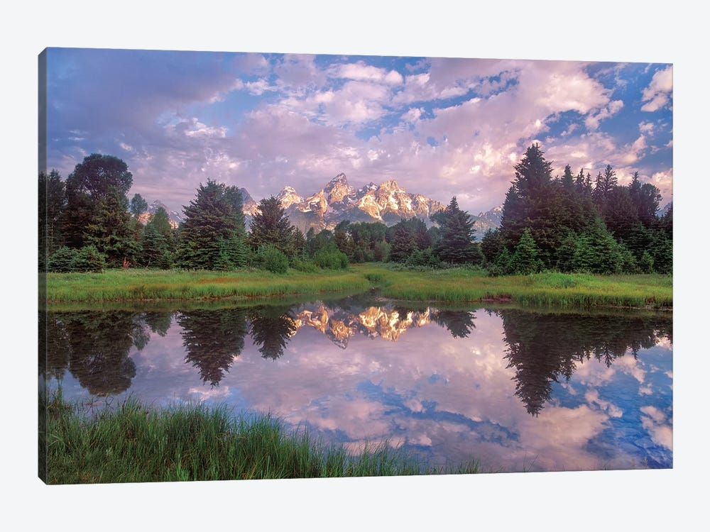 Grand Tetons Reflected In Lake, Grand Teton National Park, Wyoming by Tim Fitzharris 1-piece Canvas Wall Art