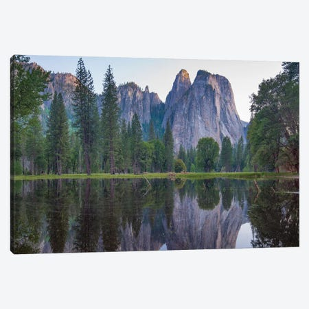 Granite Peaks Reflected In River, Yosemite Valley, Yosemite National Park, California Canvas Print #TFI1326} by Tim Fitzharris Canvas Print