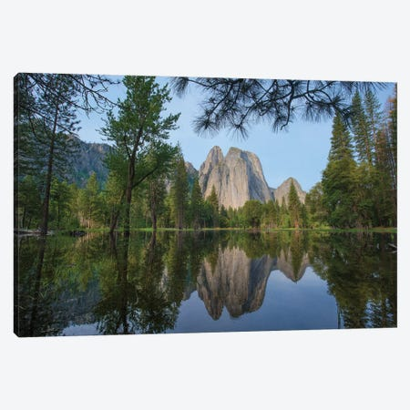Granite Peaks Reflected In River, Yosemite Valley, Yosemite National Park, California Canvas Print #TFI1327} by Tim Fitzharris Art Print