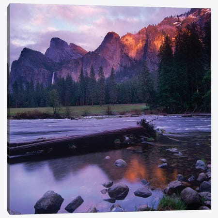 Bridal Veil Falls And The Merced River In Yosemite Valley, Yosemite National Park, California Canvas Print #TFI133} by Tim Fitzharris Canvas Artwork