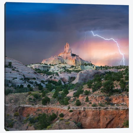 Lightning At Church Rock, Red Rock State Park, New Mexico Canvas Print #TFI1353} by Tim Fitzharris Canvas Art Print