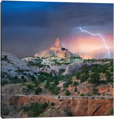 Lightning At Church Rock, Red Rock State Park, New Mexico Canvas Art Print