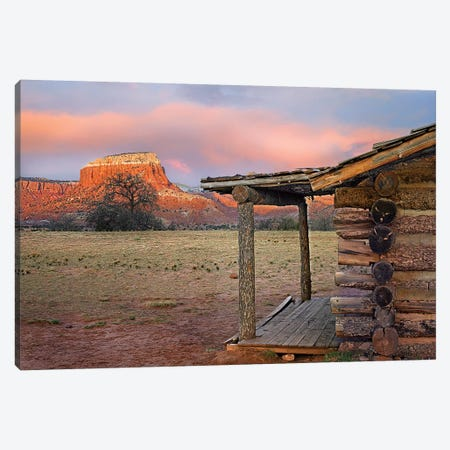 Log Cabin, Kitchen Mesa, Ghost Ranch, New Mexico Canvas Print #TFI1355} by Tim Fitzharris Canvas Wall Art