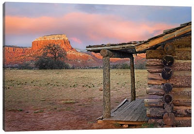 Log Cabin, Kitchen Mesa, Ghost Ranch, New Mexico Canvas Art Print
