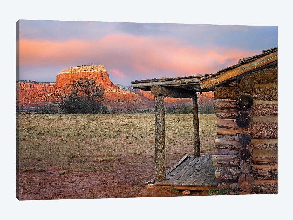 Log Cabin, Kitchen Mesa, Ghost Ranch, New Mexico by Tim Fitzharris 1-piece Canvas Art Print
