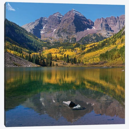 Maroon Bells, Maroon Lake, Colorado Canvas Print #TFI1360} by Tim Fitzharris Canvas Artwork