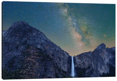 Milky Way Over Bridal Veil Falls, Yosemite Valley, Yosemite National Park, California Canvas Art Print