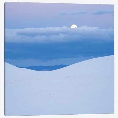 Moon And Dune, White Sands Nm, New Mexico Canvas Print #TFI1373} by Tim Fitzharris Art Print