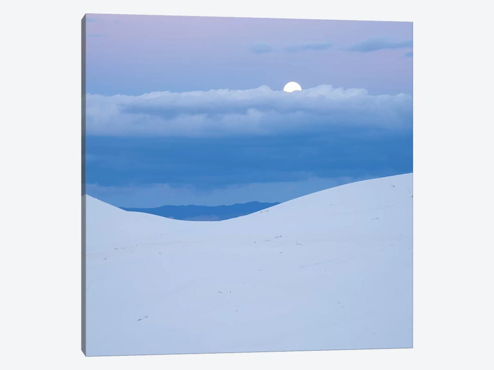 Moon And Dune, White Sands Nm, New Mexico by Tim Fitzharris 1-piece Canvas Print