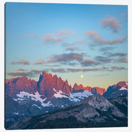 Moon Over Peaks, Ritter Range, Sierra Nevada, California Canvas Print #TFI1375} by Tim Fitzharris Canvas Artwork