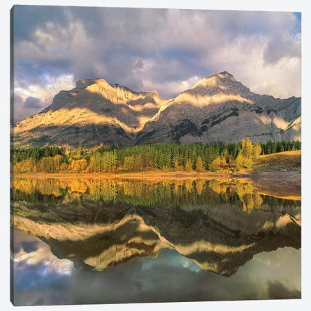 Mount Kidd Reflected In Lake, Alberta, Canada Canvas Print #TFI1380} by Tim Fitzharris Canvas Wall Art