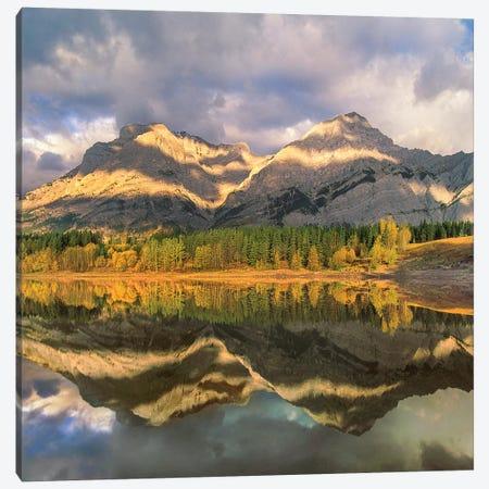 Mount Kidd Reflected In Lake, Alberta, Canada Canvas Print #TFI1380} by Tim Fitzharris Canvas Wall Art