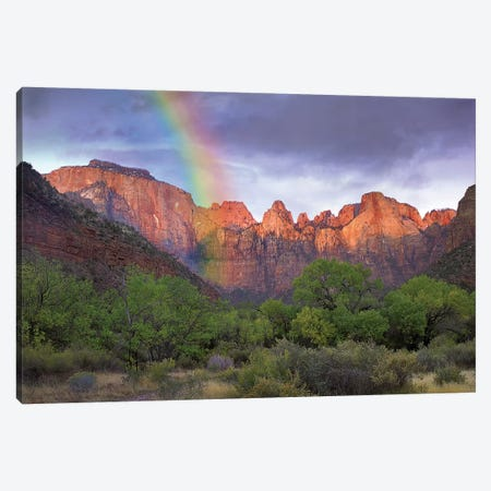 Rainbow At Towers Of The Virgin, Zion National Park, Utah Canvas Print #TFI1411} by Tim Fitzharris Canvas Art