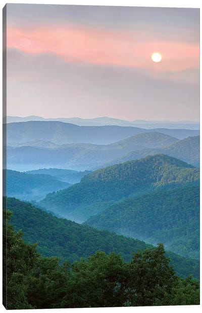 Sunrise Over Pisgah National Forest, North Carolina Canvas Art Print