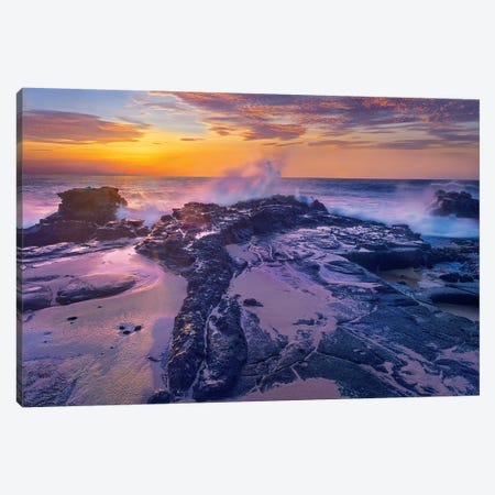 Waves Crashing At Sunset, Sandy Beach, Oahu, Hawaii Canvas Print #TFI1481} by Tim Fitzharris Canvas Art Print