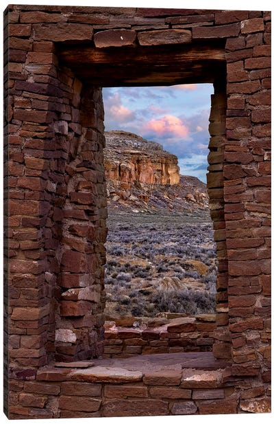 Window On South Mesa, Pueblo Del Arroyo, Chaco Culture National Historical Park, New Mexico Canvas Art Print
