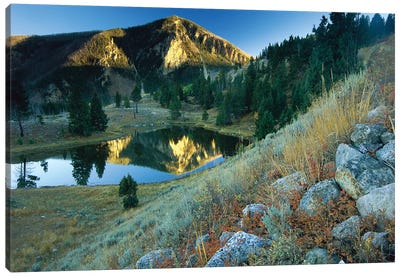 Bunsen Peak, An Ancient Volcano Cone, Reflected In Lake, Near Mammoth, Yellowstone National Park, Wyoming Canvas Art Print