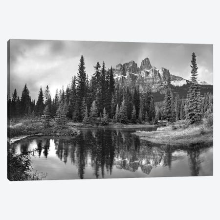 Castle Mountain and boreal forest reflected in lake, Alberta, Canada Canvas Print #TFI1563} by Tim Fitzharris Canvas Wall Art