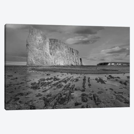 Coastline and Perce Rock limestone formation at low tide, Quebec, Canada Canvas Print #TFI1575} by Tim Fitzharris Canvas Wall Art