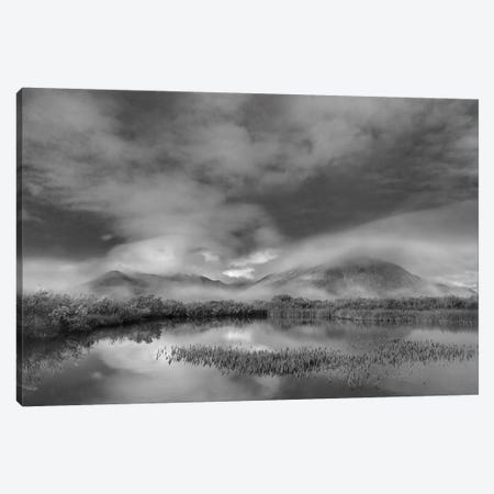 Mist over mountains near pond in autumn, Ogilvie Mountains, Tombstone Territorial Park, Yukon, Canada Canvas Print #TFI1666} by Tim Fitzharris Canvas Artwork
