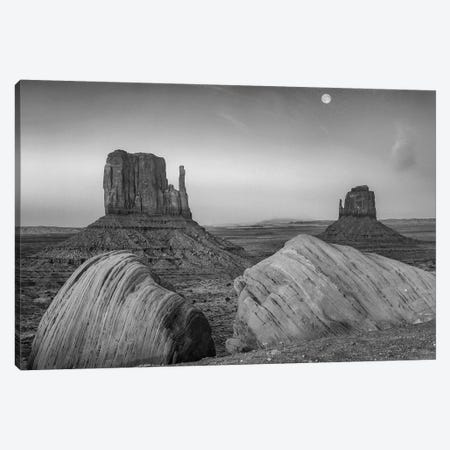 Moon over the East and West Mittens, Monument Valley, Arizona.  Canvas Print #TFI1668} by Tim Fitzharris Canvas Print