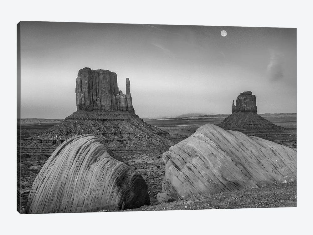 Moon over the East and West Mittens, Monument Valley, Arizona.  by Tim Fitzharris 1-piece Art Print