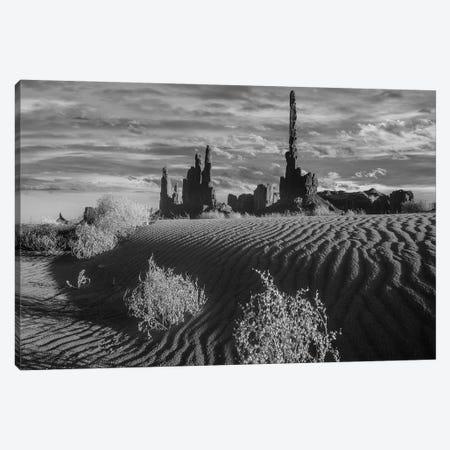 otem Pole and Yei Bi Chei with sand dunes and shrubs, Monument Valley, Arizona and Utah border Canvas Print #TFI1707} by Tim Fitzharris Art Print