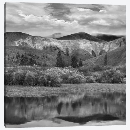 Snow-covered mountains reflected in lake in autumn, Wernecke Mountains, Yukon, Canada Canvas Print #TFI1777} by Tim Fitzharris Canvas Wall Art