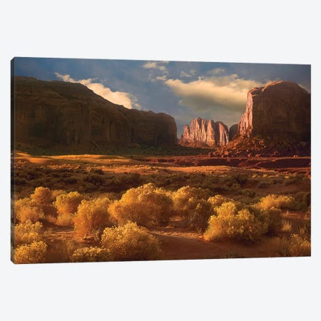 Camel Butte Rising Out Of Desert, Monument Valley, Arizona 3-Piece Canvas #TFI183} by Tim Fitzharris Art Print
