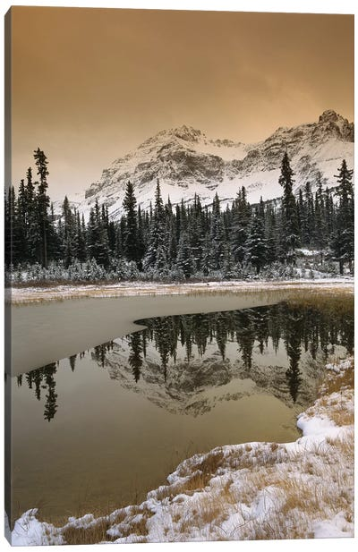 Canadian Rocky Mountains Dusted In Snow, Banff National Park, Alberta, Canada Canvas Art Print