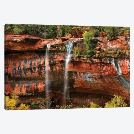 Cascades Tumbling 110 Feet At Emerald Pools, Note The Black Streaks Called Desert Varnish, Zion National Park, Utah I Canvas Print #TFI192} by Tim Fitzharris Canvas Artwork