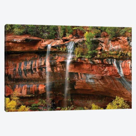 Cascades Tumbling 110 Feet At Emerald Pools, Note The Black Streaks Called Desert Varnish, Zion National Park, Utah I Canvas Print #TFI192} by Tim Fitzharris Canvas Artwork