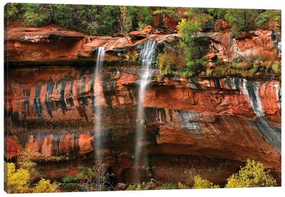 Cascades Tumbling 110 Feet At Emerald Pools, Note The Black Streaks Called Desert Varnish, Zion National Park, Utah I Canvas Art Print