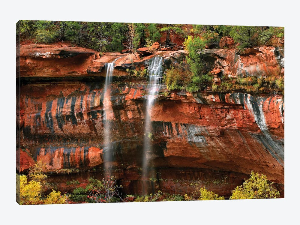 Cascades Tumbling 110 Feet At Emerald Pools, Note The Black Streaks Called Desert Varnish, Zion National Park, Utah I by Tim Fitzharris 1-piece Canvas Artwork