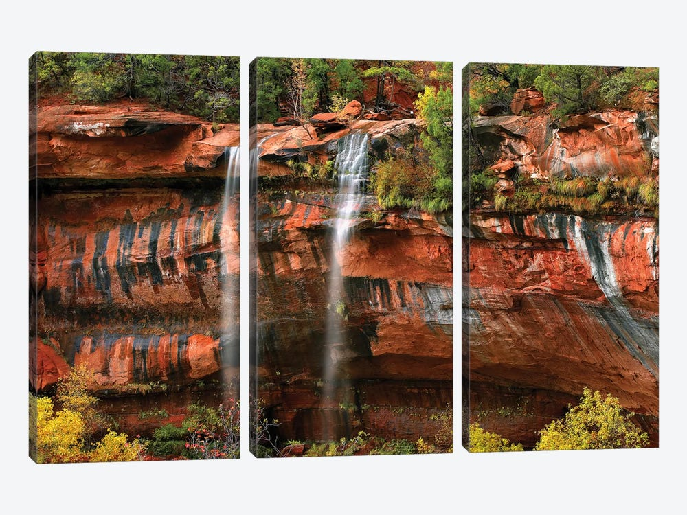 Cascades Tumbling 110 Feet At Emerald Pools, Note The Black Streaks Called Desert Varnish, Zion National Park, Utah I by Tim Fitzharris 3-piece Canvas Artwork