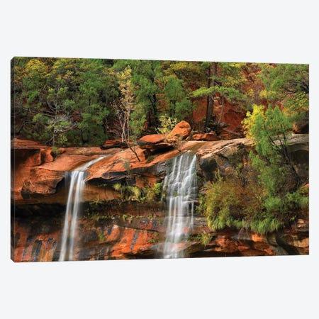 Cascades Tumbling 110 Feet At Emerald Pools, Note The Black Streaks Called Desert Varnish, Zion National Park, Utah II Canvas Print #TFI193} by Tim Fitzharris Canvas Art
