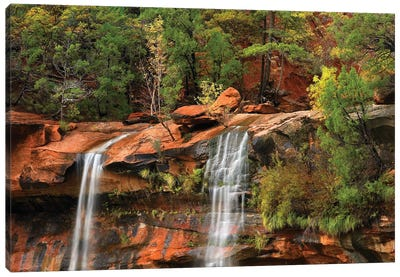 Cascades Tumbling 110 Feet At Emerald Pools, Note The Black Streaks Called Desert Varnish, Zion National Park, Utah II Canvas Art Print
