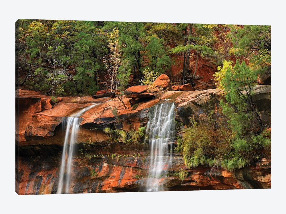 Cascades Tumbling 110 Feet At Emerald Pools, Note The Black Streaks Called Desert Varnish, Zion National Park, Utah II by Tim Fitzharris 1-piece Canvas Print