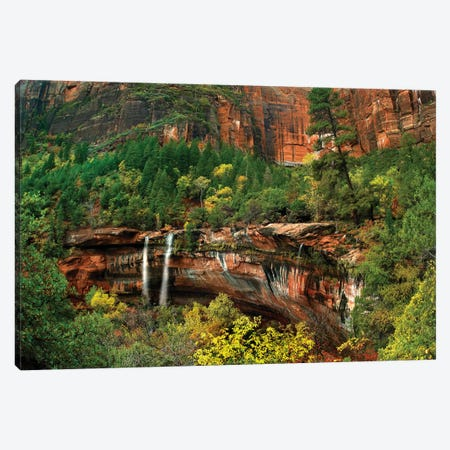 Cascades Tumbling 110 Feet At Emerald Pools, Note The Black Streaks Called Desert Varnish, Zion National Park, Utah III Canvas Print #TFI194} by Tim Fitzharris Canvas Art Print