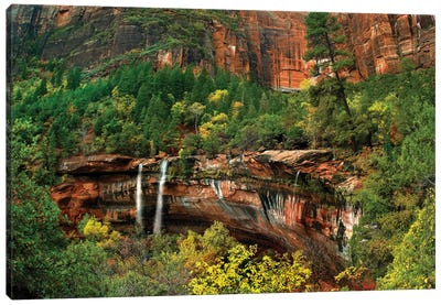 Cascades Tumbling 110 Feet At Emerald Pools, Note The Black Streaks Called Desert Varnish, Zion National Park, Utah III Canvas Art Print