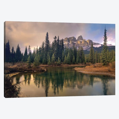 Castle Mountain And Boreal Forest Reflected In Lake, Alberta, Canada Canvas Print #TFI197} by Tim Fitzharris Canvas Print
